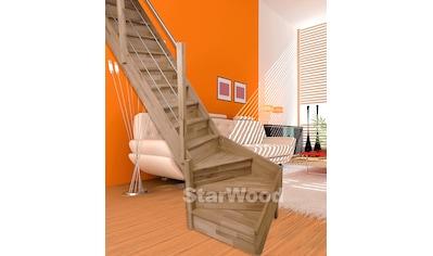 STARWOOD Raumspartreppe »Rhodos«, geschl. Stufen, 1/4 links gewendelt, Holz - Edelstahlgel. li kaufen