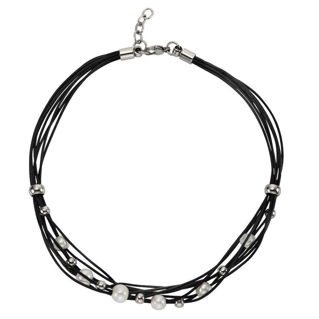 Zeeme Collier »Leder schwarz Stahlkugeln und Perle«, Lederband