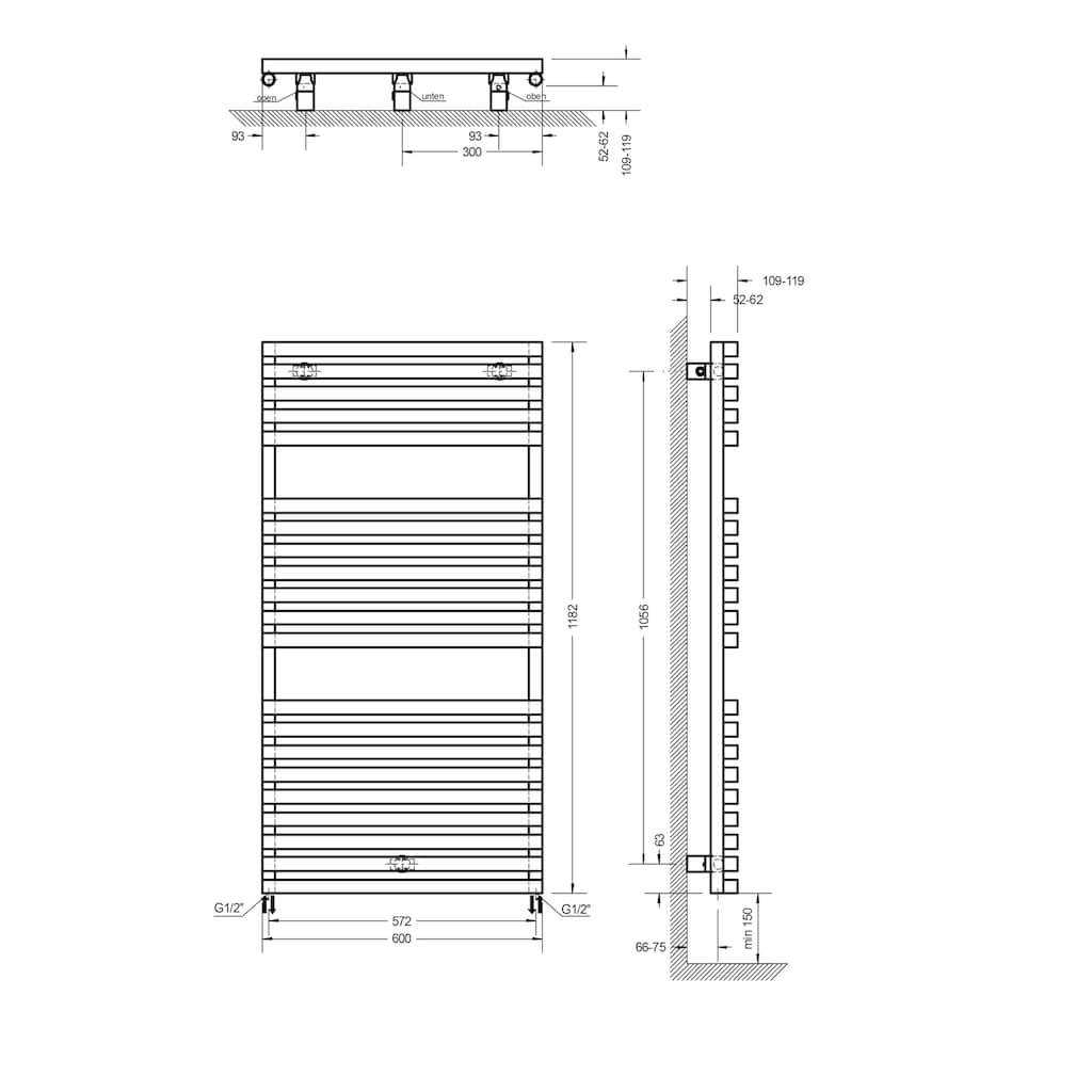Schulte Badheizkörper »Genf«, 118,2 x 60 cm