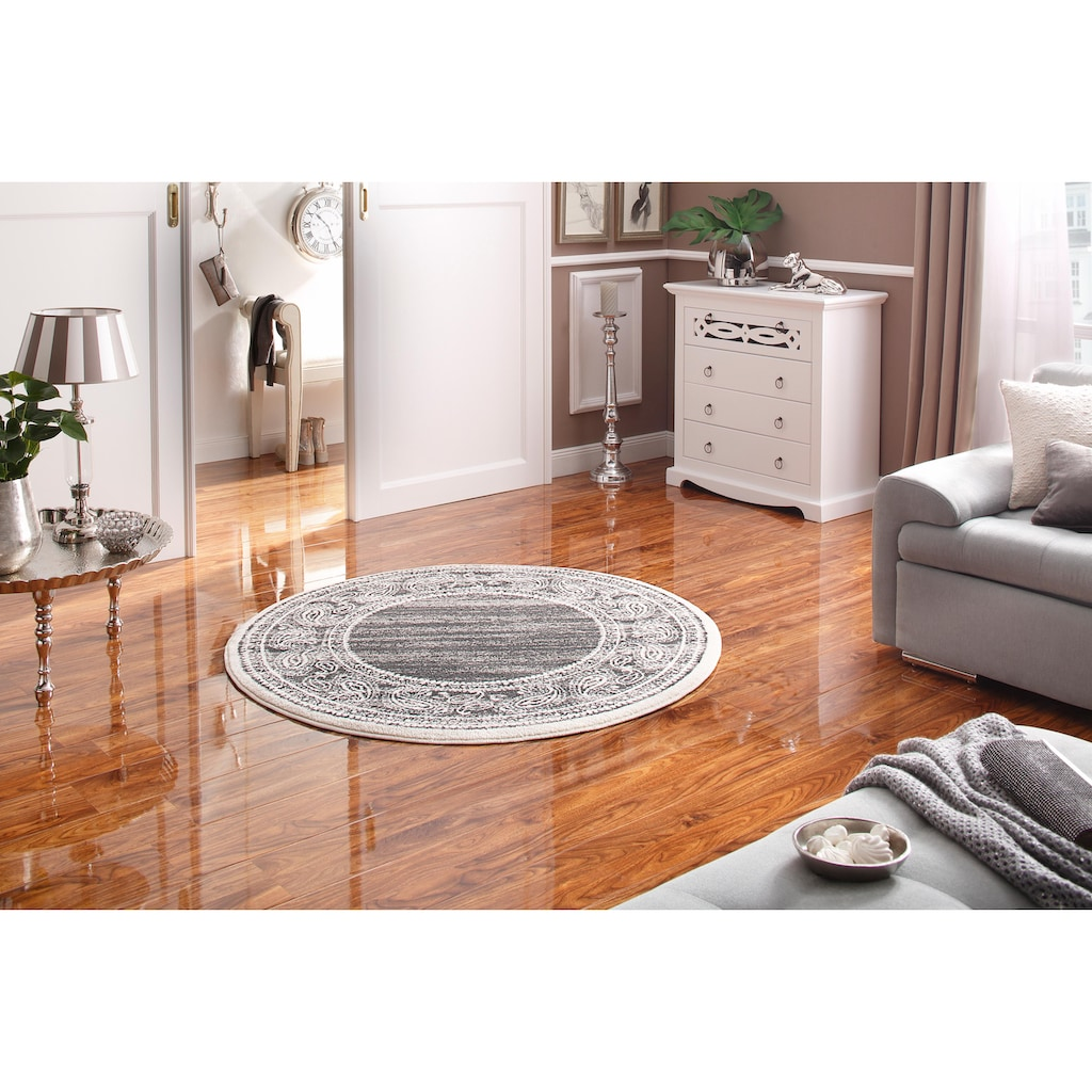 my home Teppich »Maite«, rund, 8 mm Höhe, mit Bordüre, Wohnzimmer