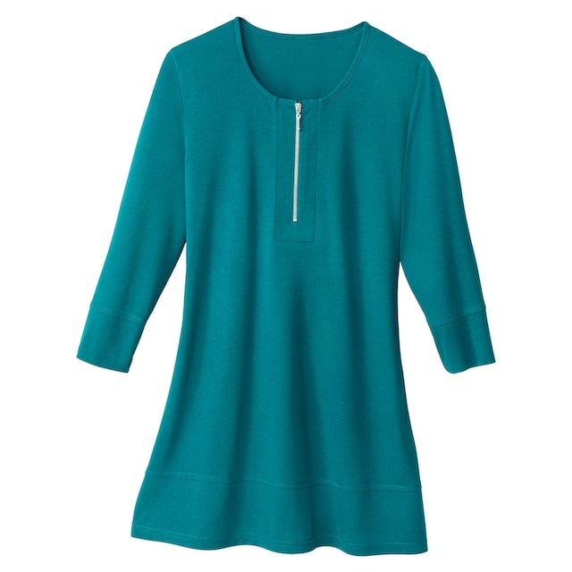 Classic Basics Longshirt mit silberfarbenem Reißverschluss am Ausschnitt