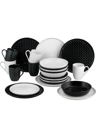 van Well Kombiservice »Black & White«, (Set, 24 tlg.), mit Struktur kaufen