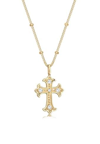 Elli Collierkettchen »Antik Kreuz Kugelkette Zirkonia 80's 925er Silber« kaufen