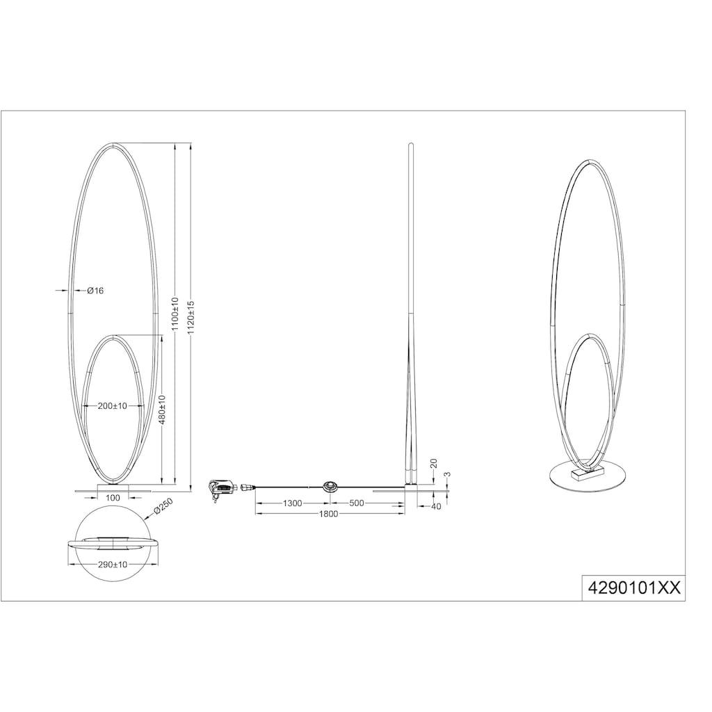 TRIO Leuchten LED Stehlampe »Avus«, LED-Board, 1 St., Fußschalter, Switch Dimmer