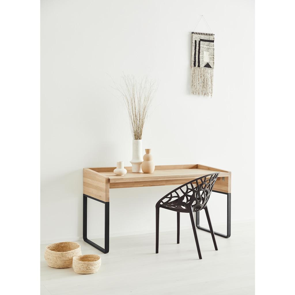OTTO products Schreibtisch »Hellen«, aus Eiche massiv, klappbar, vegan, Breite 146 cm, Designed by Leonhard Pfeifer