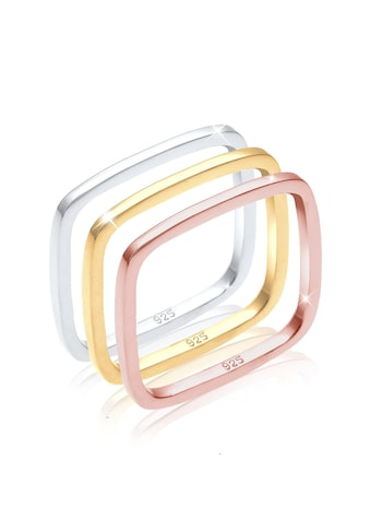Elli Ring-Set »Tri-Color Statement Vierecks-Ringset 925er Silber« kaufen