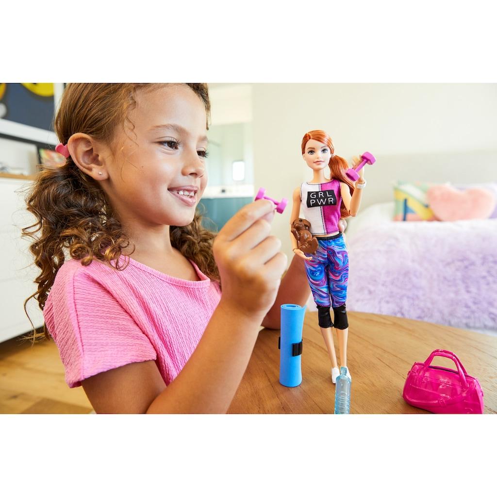 Barbie Anziehpuppe »Wellness Fitness«, mit Hündchen, Hula-Hoop-Reifen, Yoga-Matte u.v.m.