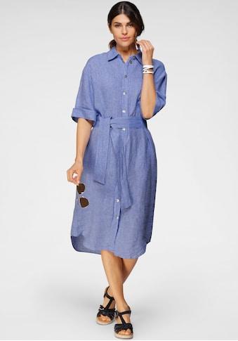 seidensticker Blusenkleid, (2 tlg., mit Bindegürtel), in langer Form, Maxidress, aus Leinen kaufen