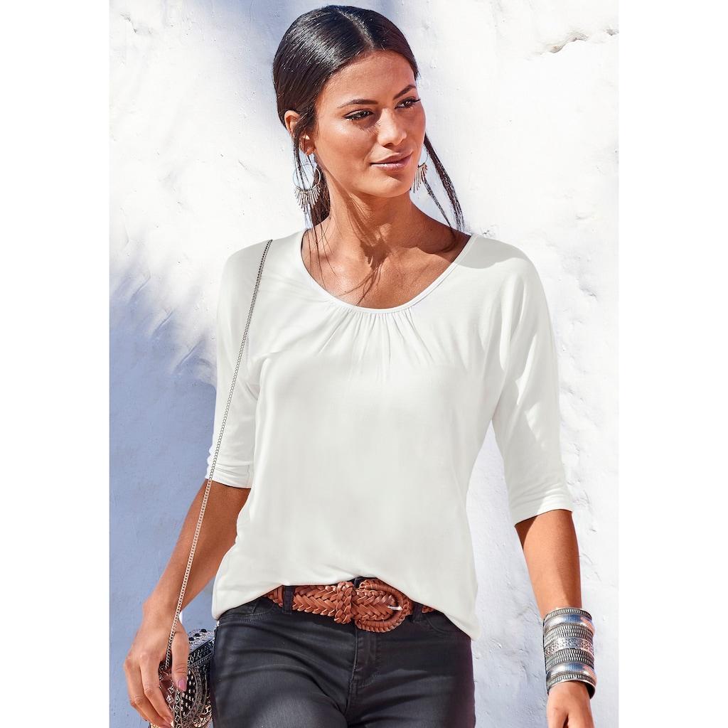 LASCANA 3/4-Arm-Shirt, mit zarter Raffung am Ausschnitt