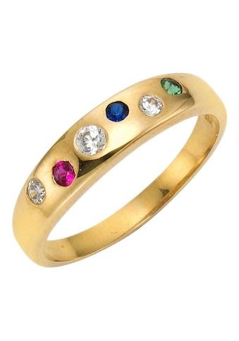 Firetti Goldring »mit Farbsteinen«, mit Rubin, Saphir, Smaragd und Zirkonia kaufen
