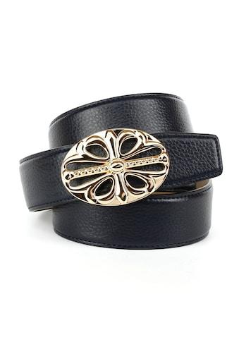 Anthoni Crown Ledergürtel, in schwarz mit Unterführung, hochwertiges Rindsleder kaufen