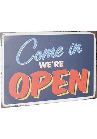 Home affaire Metallbild »Come in we´re open«, Maße (B/H): 45/30 cm kaufen