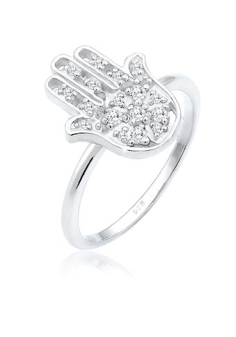 Elli Fingerring »Hamsa Hand der Fatima Zirkonia Boho 925 Silber« kaufen