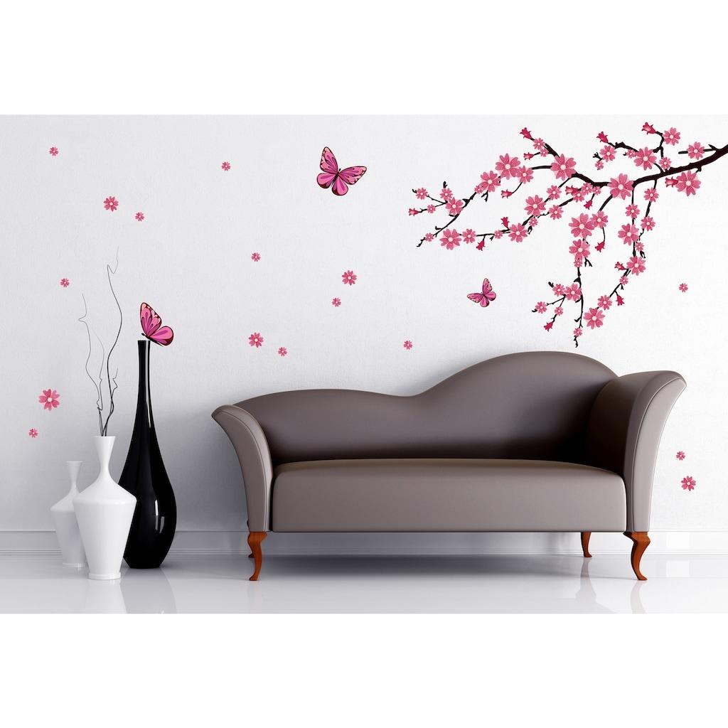 Wall-Art Wandtattoo »Kirschblüten mit Schmetterlingen«