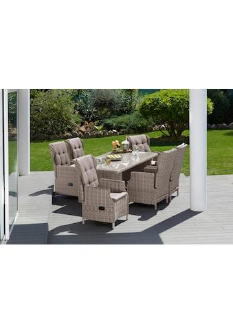 MERXX Gartenmöbelset »Riviera«, 13 - tlg., 6 Sessel, Tisch 200x100 cm, Kunststoff/Stahl kaufen