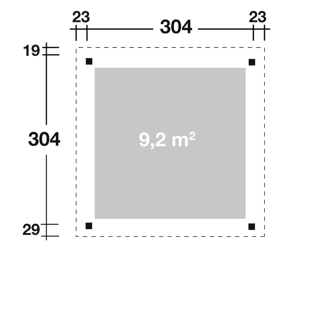 Wolff Holzpavillon »Elba«, BxT: 350x352 cm, Grundbauset