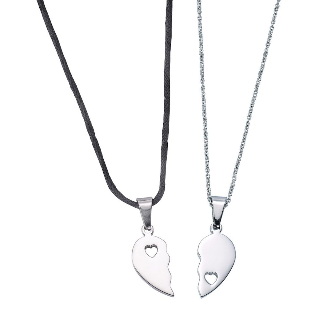 Firetti Schmuckset »Partnerschmuck: 2 Halsketten mit Anhänger Herz«
