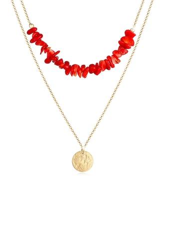Elli Gliederkette »Layer Plättchen Koralle Trend 925 Sterling Silber« kaufen