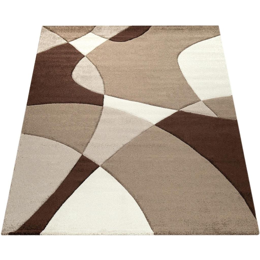 Paco Home Teppich »Diamond 664«, rechteckig, 18 mm Höhe, 3D-Design, Kurzflor mit geometrischem Muster, Wohnzimmer