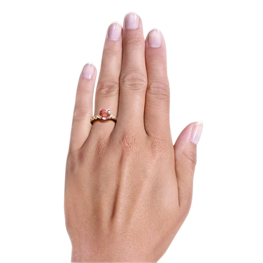 goldmaid Silberring, 925/- Silber 16 weiße Zirkonia 1 pinker Zirkonia