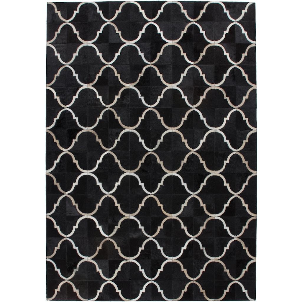 Kayoom Fellteppich »Lavish 310«, rechteckig, 8 mm Höhe, Patchwork-echtes Leder-Fell, Wohnzimmer