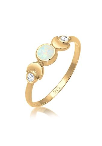 Elli Fingerring »Vintage Design Halbmond Opal Zirkonia 925er Silber« kaufen