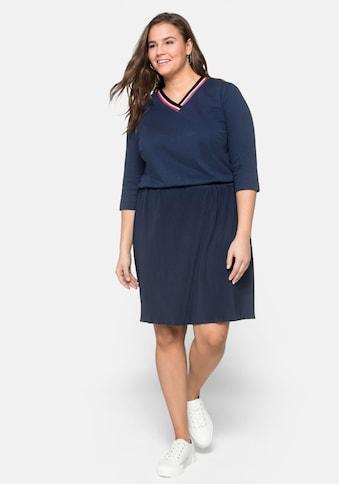 Sheego Jerseykleid, mit plissiertem Rock kaufen