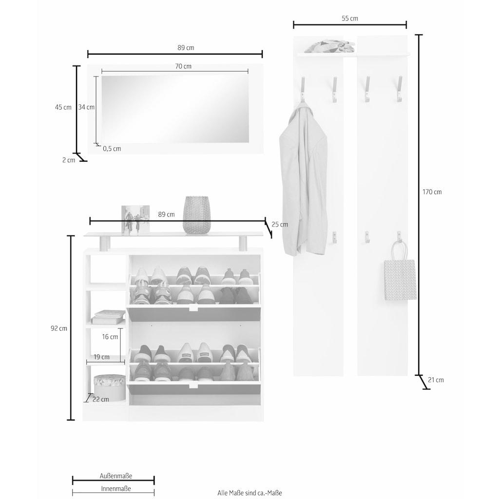 borchardt Möbel Garderoben-Set »Dolly«, (Set, 3 St.), mit Glasablage