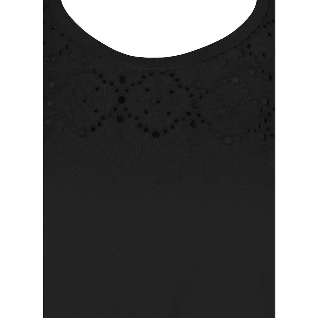 Zizzi Rundhalsshirt »VSOFIA«, mit Lochstickereien am Vorderteil