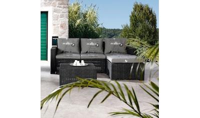 BEST Loungeset »Kenia«, 10 - tlg., 3er - Sofa, Fußhocker, Tisch, Kunststoff, anthrazit kaufen