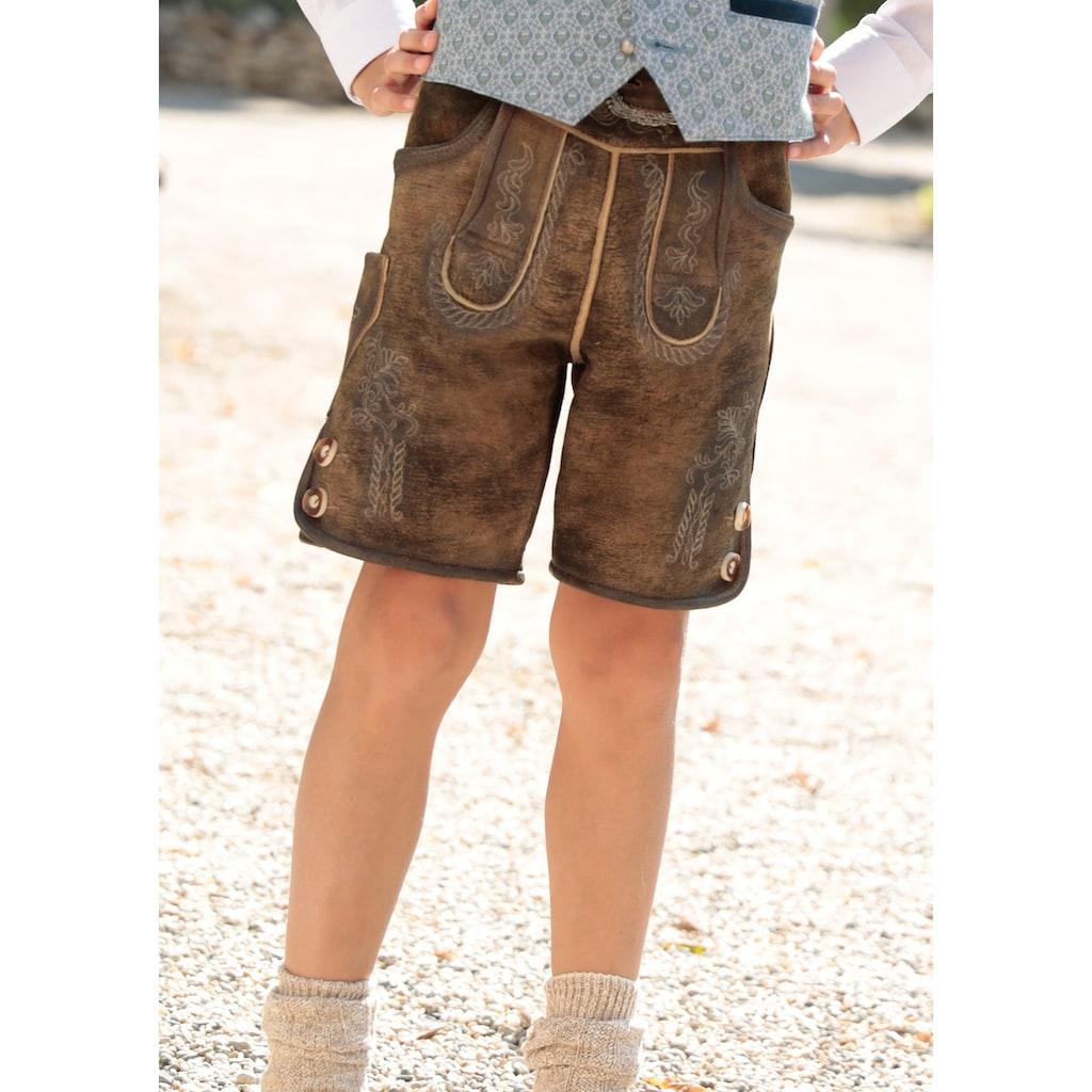 Hammerschmid Trachtenlederhose, (2 tlg., mit Gürtel), Kinder im Used Look