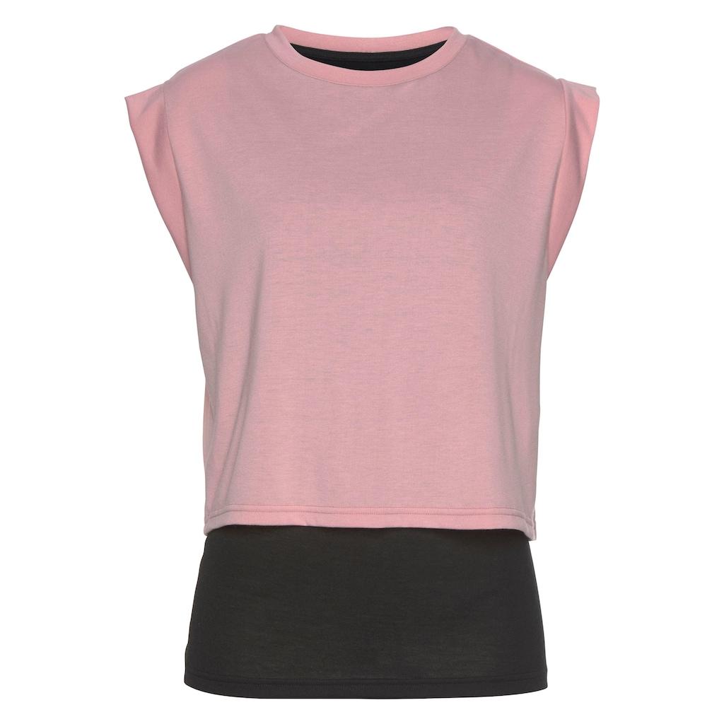 LASCANA ACTIVE 2-in-1-Shirt »Tropical«, in Lagenoptik
