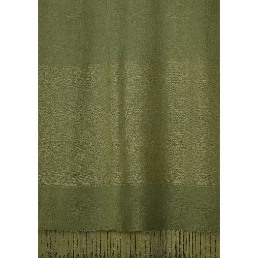 PURSET Schal, Stola mit feiner Musterung und Fransen