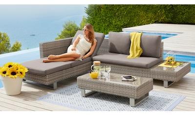 KONIFERA Loungeset »Long Beach New«, (11 tlg.), Ecklounge, Tisch 18x53 cm, Polyrattan kaufen