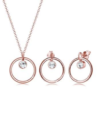 Elli Schmuckset »Kreis Geo Kristalle 925 Silber Tondo« kaufen