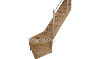 STARWOOD Raumspartreppe »Rhodos«, geschl. Stufen, 1/4 rechts gewendelt, Holz - Edelstahlgel. re kaufen