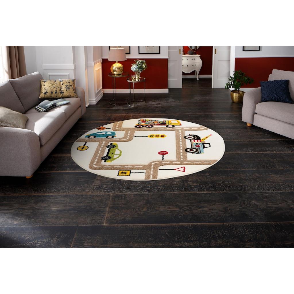 Lüttenhütt Kinderteppich »Strassen«, rund, 13 mm Höhe, handgearbeiteter Konturenschnitt, Straßen-Spielteppich