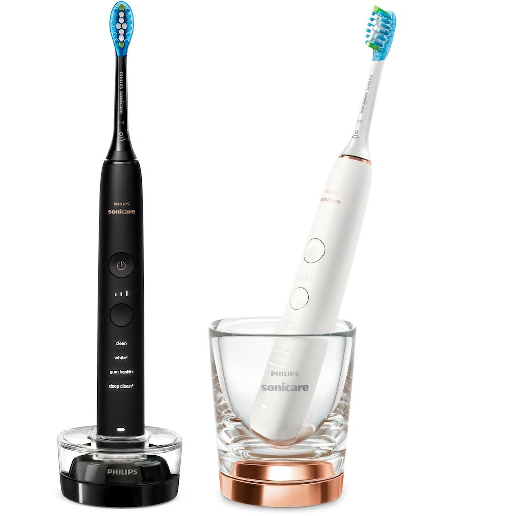 Philips Sonicare Elektrische Zahnbürste »HX9914/57«, 2 St. Aufsteckbürsten, DiamondClean Premium Schallzahnbürste, Doppelpack inkl. Ladeglas