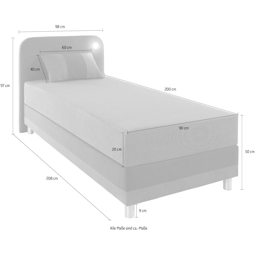 Maintal Boxspringbett, inklusive LED-Beleuchtung und Kissen