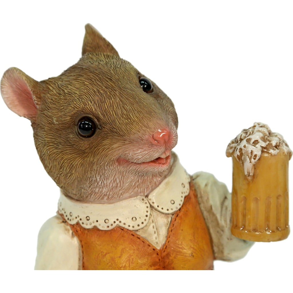 Casa Collection by Jänig Tierfigur »Frau Maus im Kleid mit Bierglas«