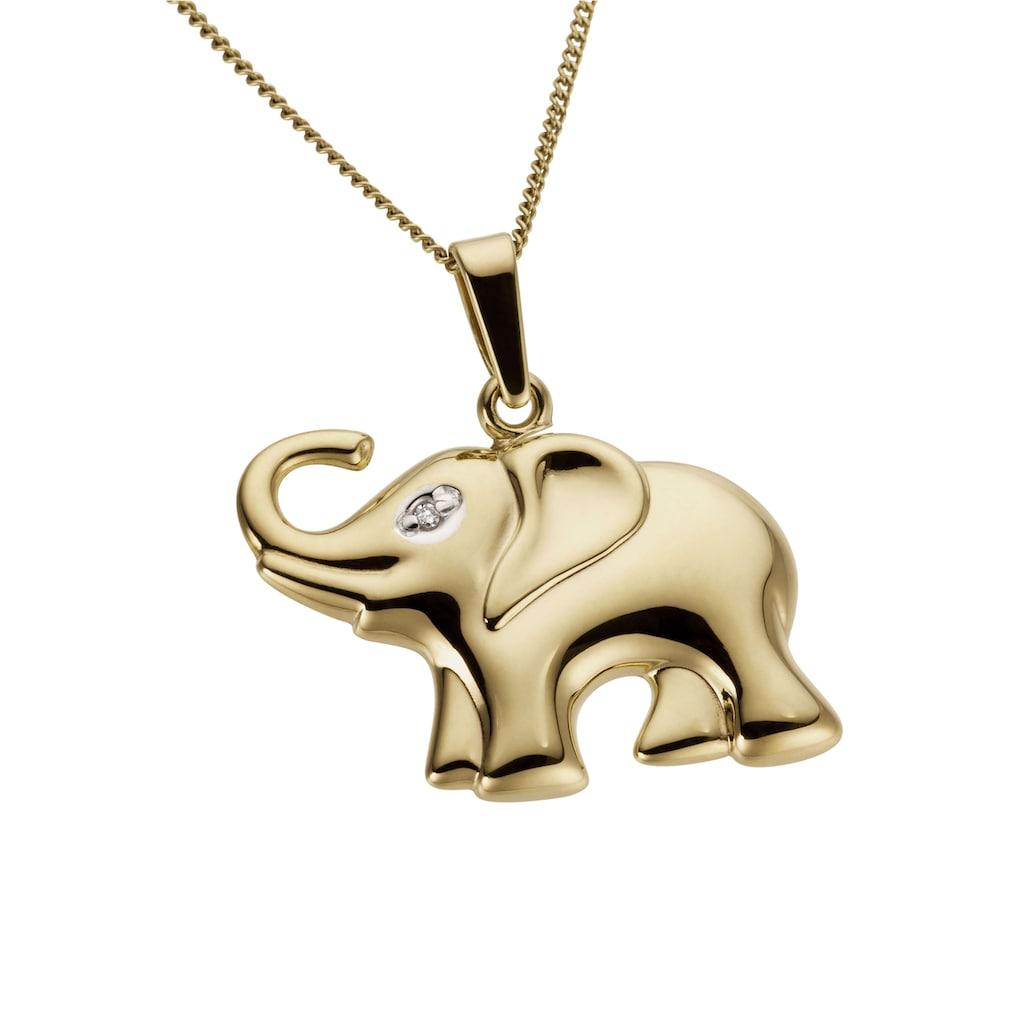 Firetti Kettenanhänger »Elefant, teilweise rhodiniert und glanzvoll«, mit Diamant, Made in Germany