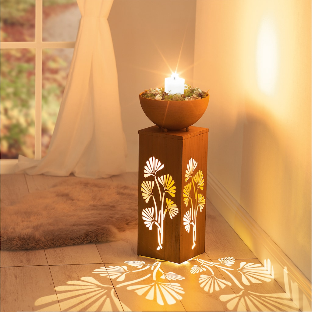 EASYmaxx LED Dekolicht »Ginko«, 1 St., Warmweiß, In- und Outdoor, EASYmaxx LED-Dekosäule Rost-Optik, 59 cm