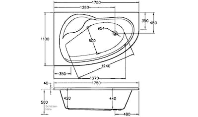 OTTOFOND Eckwanne »Loredana«, B/T/H in cm: 175/110/56, Whirlpool - System Premium kaufen