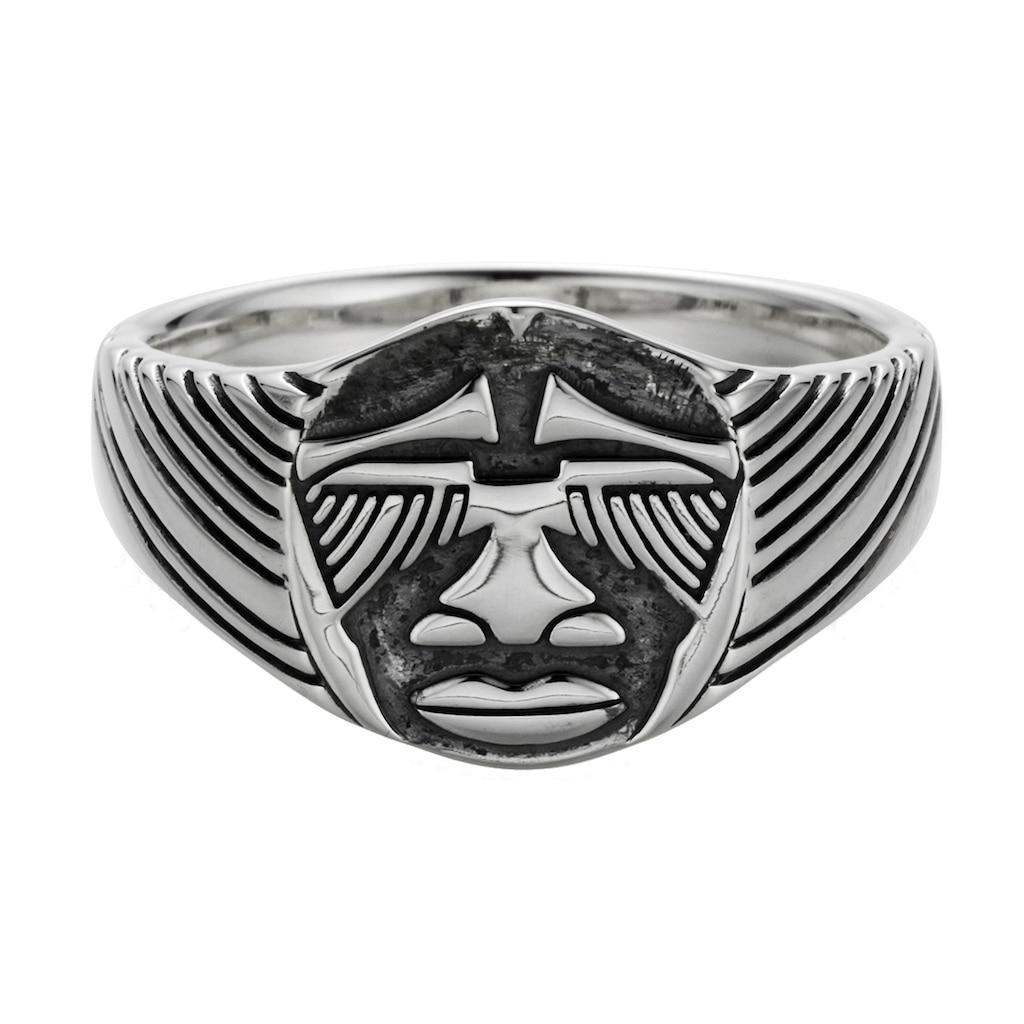 CAÏ Ring »925/- Sterling Silber oxidiert Maske Afrika«