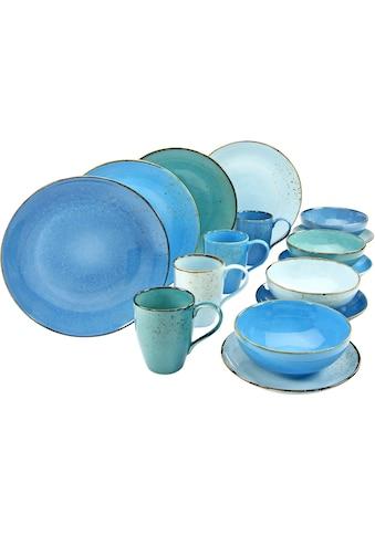 CreaTable Kombiservice »NATURE COLLECTION Aqua«, (Set, 16 tlg.), Trendaktuelle Blau-Töne kaufen