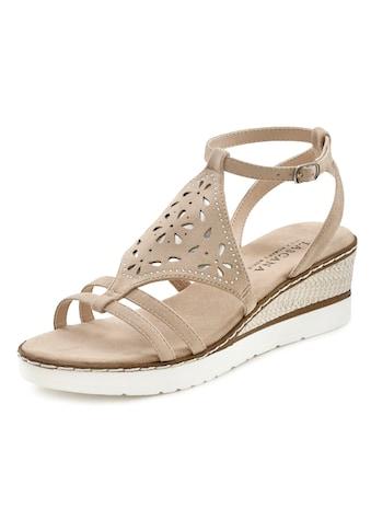 LASCANA Sandalette, mit verziertem Keilabsatz und weich gepolsterter Innensohle kaufen