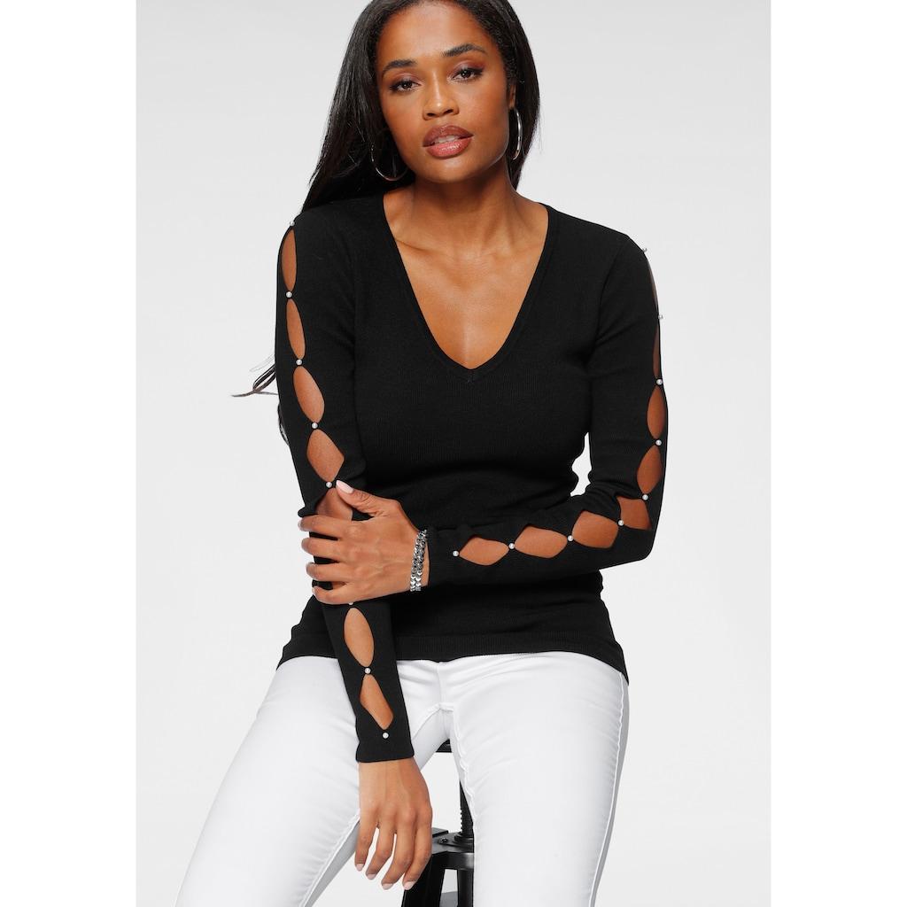 Melrose V-Ausschnitt-Pullover, mit Cut-Outs und Perlen