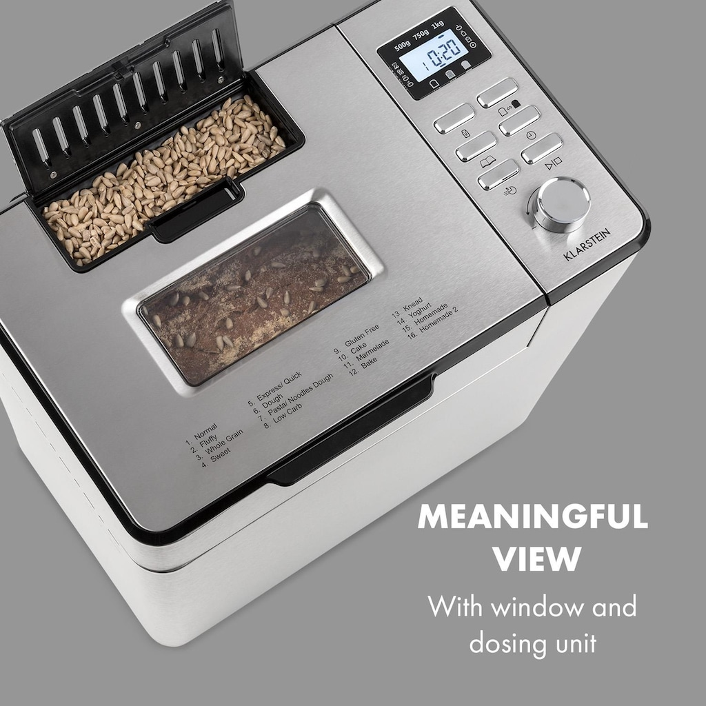 Klarstein Brotbackautomat 14 Programme LCD-Display »KG13-Breadmaker«