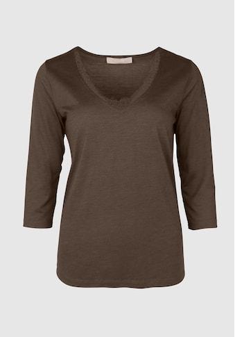 bianca 3/4-Arm-Shirt »EMILY«, mit V-Ausschnitt und Spitzendetails kaufen