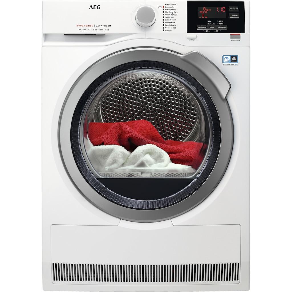 AEG Wärmepumpentrockner »LAVATHERM T8DBA3«, 8000 LAVATHERM, 8 kg, AbsoluteCare für Wolle, Seide, Outdoor
